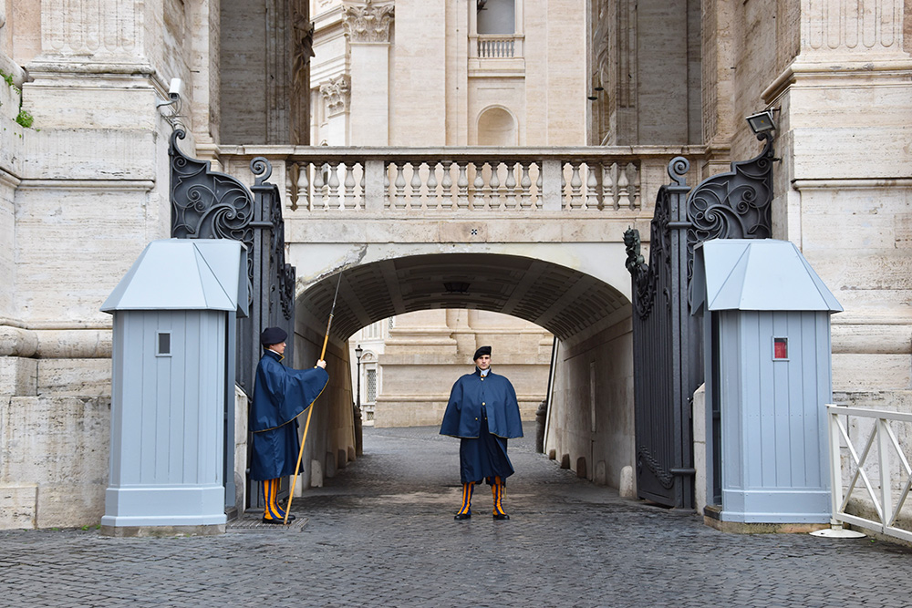 De Zwitserse garde in Vaticaanstad