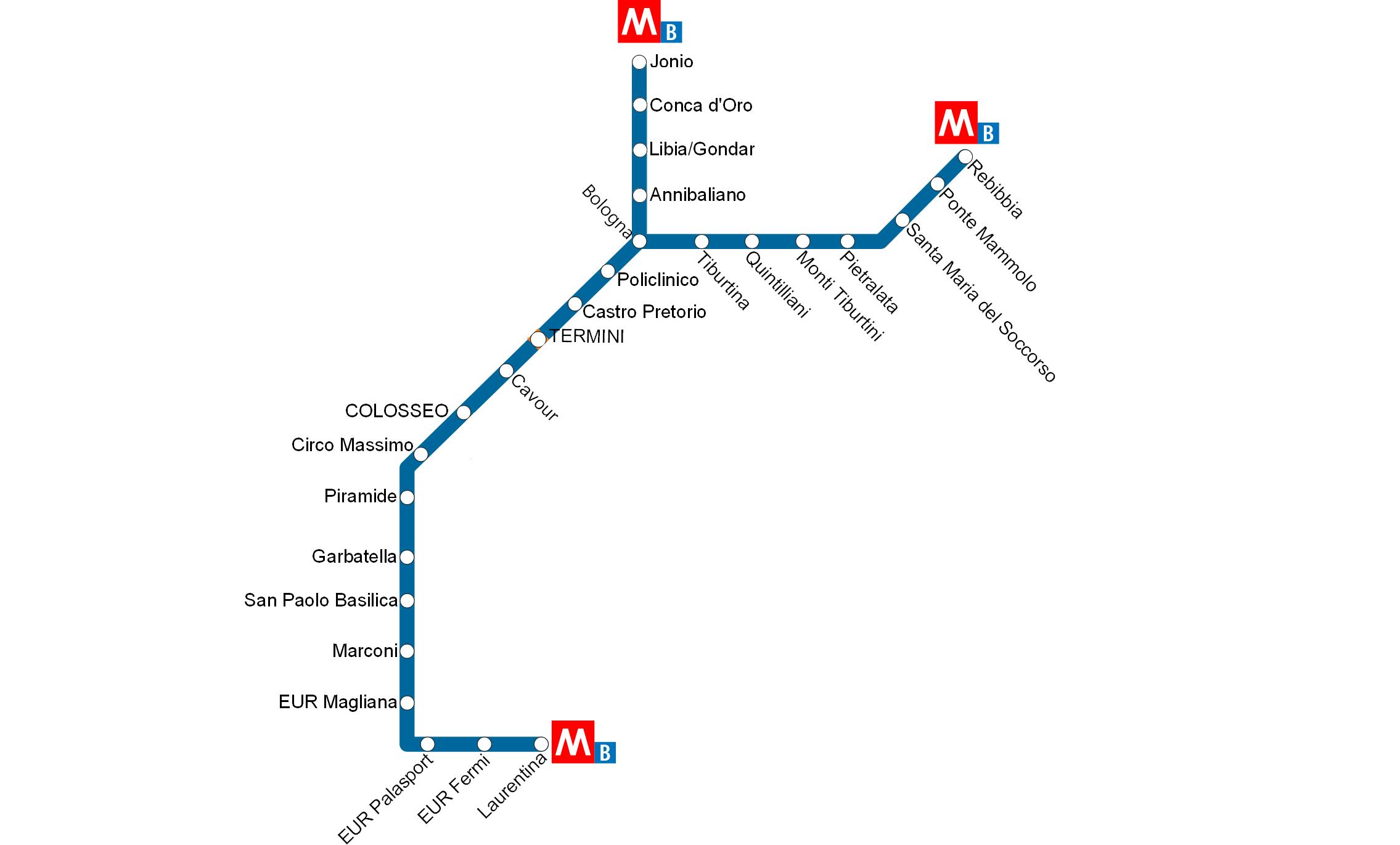 Plattegrond van de metro in Rome