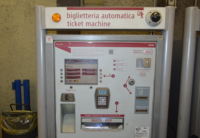 Ticket automaat metro in Rome
